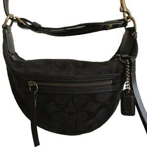 COACH Black Jacquard Fabric Belt Bag/ Shoulder Bag
